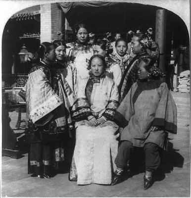 Pekinese Women in Court of Wealthy Chinese House,Peking,China,1902,Wealth,Manner