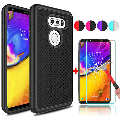 For LG V35 ThinQ Hybrid Shockproof Phone Case+9H Tempered Glass Screen Protector