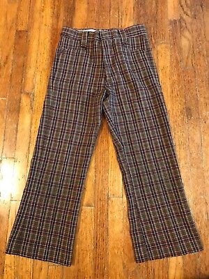 1970s Boys Plaid Pants, Size 6/7? 60s? (sn607)
