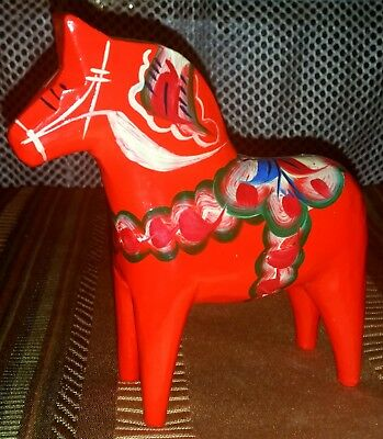 Swedish Hand Painted Carved Red Dala Horse G.A. Olsson Sweden with Sticker New