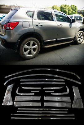 FOR Nissan Qashqai J10 2007-2013 Steel Full Window Frame Protector Cover Trims