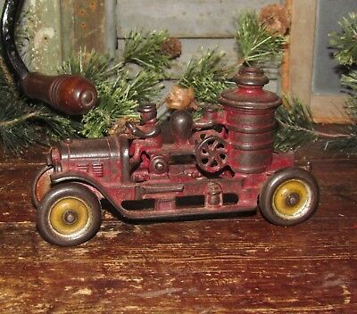 Original Antique Vtg 1920s Cast Iron KENTON TOYS Pumper Car Fire Truck Gift Idea