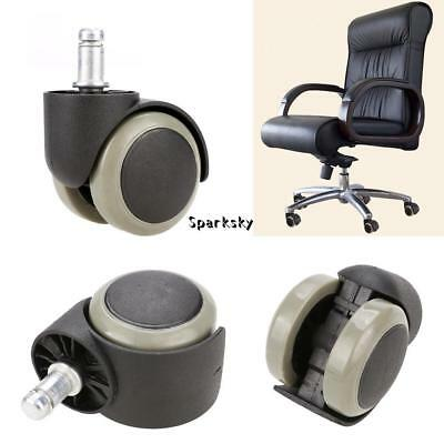 5x Set Rubber Replacement Swivel Wheel for Office Chair Caster Wooden Floor New