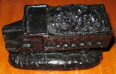 VINTAGE JAMES ENGLAND COAL TRUCK  FIGURE STATUE CRAFTED FROM COAL the truck rare