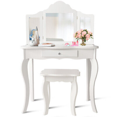 Kids Makeup Vanity Table With Stool Set Dress Up Play White