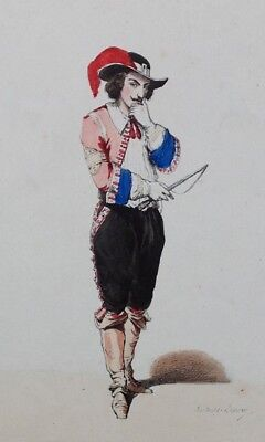 Antique 1840/50'S French Hand Coloured Lithograph Postillon 1650 Ball Costume