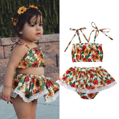 AU Stock Flower Toddler Baby Girl Kids Tops Shorts Outfit Susnuit Clothes Summer