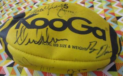 Autographed Rugby KooGa IRB Size 5 FOOTBALL Signed by 9 Wallabies Players VGC