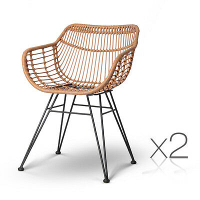Set of 2 PE Wicker Dinign Chair - Natural
