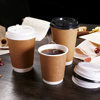 8/12/16 oz Double Insulated Hot Kraft Paper Coffee Cup and Lids Bulk Disposable