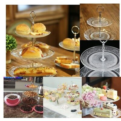 Cup Cake Display Stand 2/3 Tier Clear Glass Fruit  Storage Basket Dish Tray