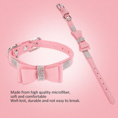 Bling Rhinestone Dog Collars Adjustable for Small Dog Puppy Walking Control Pink