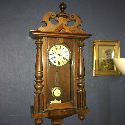 Antique Vienna Wall Clock in Mahogany, a lovely Item !