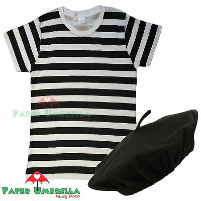 Ladies FRENCH BLACK WHITE striped TSHIRT + BERET Fancy Dress Costume Hen outfit