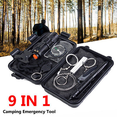 9IN1 Emergency Survival Equipment Self Defense Survival Kits Compass Multi-Tools