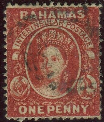 BAHAMAS-1882 1d Scarlet Verminlion Perf 14.  A fine used  WMK CC example Sg 33