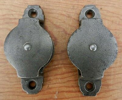 """Antique / Vintage Pair Small Cast Iron Pulleys 2"""" Diameter - Clean - REDUCED!!"""