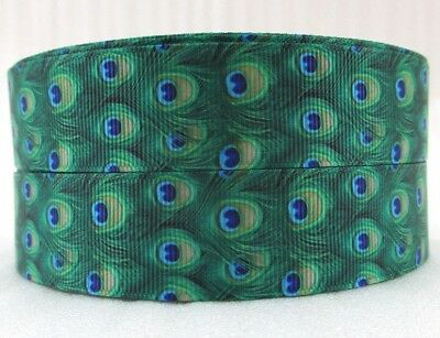 PEACOCK FEATHERS - GREEN  - GROSGRAIN RIBBON 25mm/1""