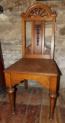 Antique Victorian carved solid mid oak hall chair bedroom shaped back classical
