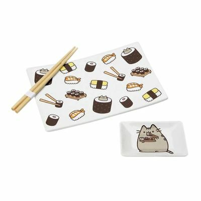 Official Licensed Pusheen Sushi Plate, Soy Sauce Dish and Chopstick Set