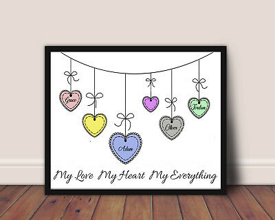 Personalised Love Heart Name Family Print Wall Art A4 Picture  Gift Upto 6 Names