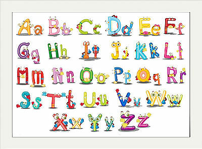 Alphabet Nursery Fun Print Abc  ..a4 Poster Print Childrens Room Educational