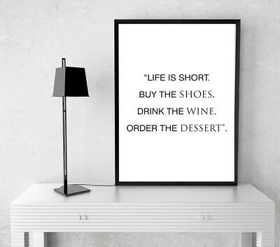 Inspirational Motivational Life Is Short Positive Quote Poster Print Wall Art