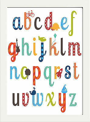 Alphabet Nursery Childrens Bedroom Fun Print Abc  ..a4 Poster Decor Gift
