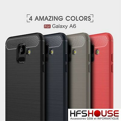 Pour Samsung Galaxy A6 2018 Coque Housse Etui Carbone Silicone Gel Case Cover