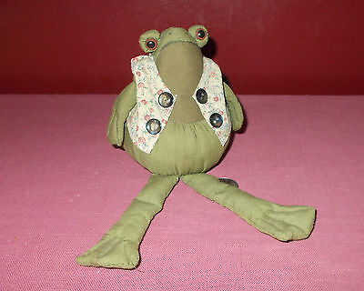 Vintage 1980s Fabric FROG SHELF SITTER FIGURINE Cloth Mixed *