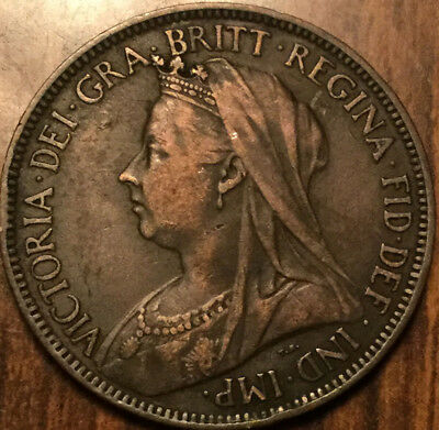 1901 UK GB GREAT BRITAIN VICTORIA HALFPENNY - Great example !