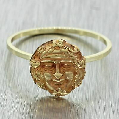 1880s Antique Victorian Solid 14k Yellow Gold Ancient Roman Head Ring