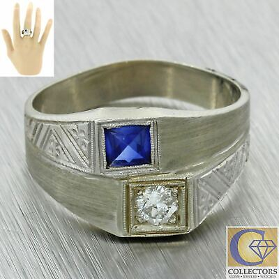 1930s Antique Art Deco 14k White Gold .22ctw Diamond Sapphire Wide Band Ring