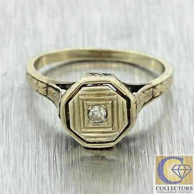 1930s Antique Art Deco Filigree 14k Solid White Gold Diamond Solitaire Ring