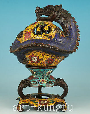Rare Chinese Bronze Cloisonne Hand Carved Dragon Buddha Statue Incense Burner