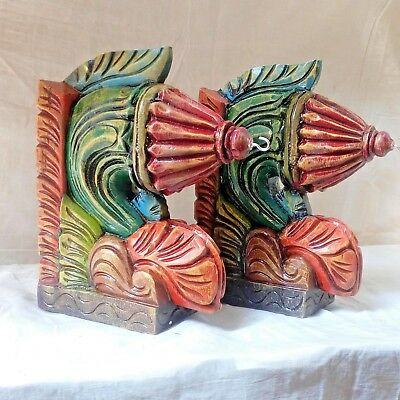 Corbel Pair Colorful Wall Hanging Bracket for Hanging Lamp Bell Vintage Wooden
