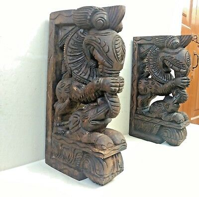 Wall Wooden Bracket Corbel Pair Temple Yalli Dragon Statue Sculpture Art Decor