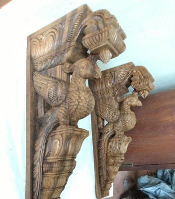 Wall Wooden Bracket Corbel Pair Vintage Peacock parrot Sculpture Statue Decor UK
