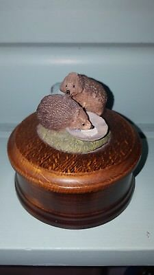 country artists wooden trinket box hedgehogs