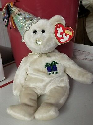 6ed2282e80d TY Collectible Beanie Baby JUNE Birthday Bear 9.5 inch Mint Condition