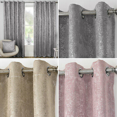 Designer Metallic Sparkle Bling Shimmer Thermal Blockout Eyelet Ring Curtains