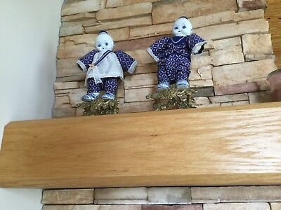2  Chinese Blue and White Asian Doll with porcelain head and feet