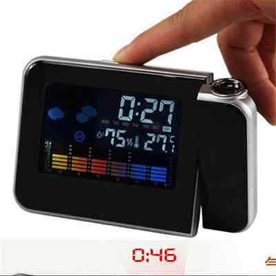 LED Digital Weather Backlight Snooze Alarm Clock Color Display Projection LCD