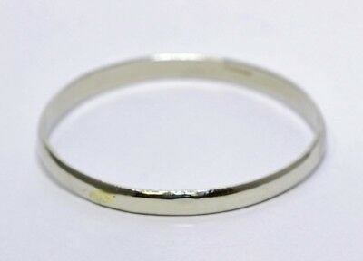 925 Solid Sterling Silver Plain Polished 5.5mm Child/Baby Bangle Bracelet MEXICO