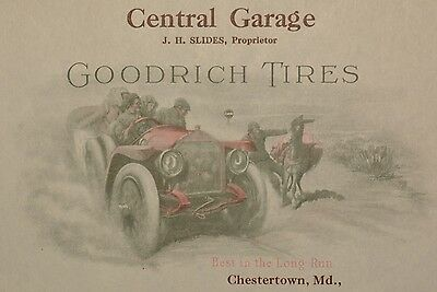 Magnificent GOODRICH TIRES Letterhead, CENTRAL GARAGE, Chestertown, MD, Ca. 1915