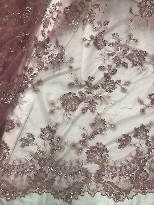 Rose Gold Mesh W Beads Sequins Embroidery Lace Fabric 50 Wide Sold