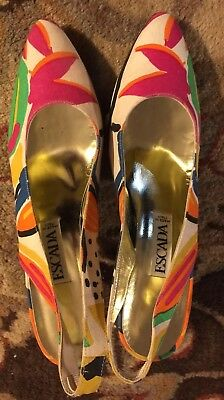 Escada Floral Slingbacks Made In Italy Size 7.5 7 1/2 AA EUC