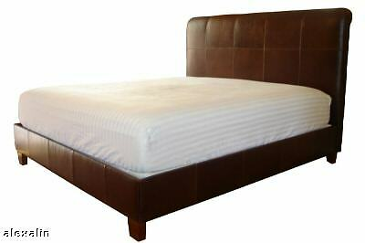 King Size Leather Bed Jack Daniels Brown Genuine