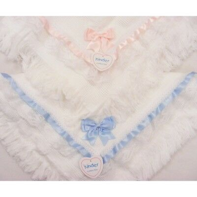 Kinder Baby Boys Girls Spanish Style Romany Shawl Wrap Blanket Ribbons & Bows