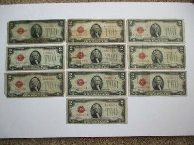 Lot Of 10 - 1928 $2.00 Red Seal Notes